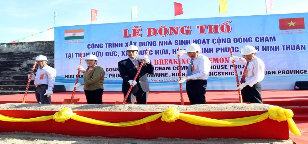 Ambassador P. Harish visited Ninh Thuan province and took part in the Ground Breaking ceremony of Construction Project of Cham Community House at Huu Duc Village in Phuoc Huu Commune in Ninh Phuoc District in the province.