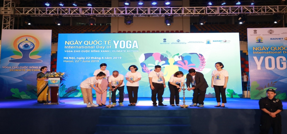 The Embassy of India, Hanoi in coordination with Ministry of Culture, Sports and Tourism of Vietnam and Hanoi People's Committee organized the 5th International Day of Yoga celebrations in Hanoi on June 22nd at Quan Ngua Sports Complex, Hanoi.