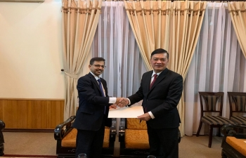 Ambassador of India to Vietnam Mr. Pranay Verma after arriving in Hanoi today presented a copy of his credentials to the Chief of Protocol Mr. Mai Phuoc Dung at the Ministry of Foreign Affairs of Vietnam.