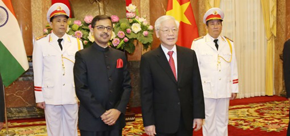 Ambassador Pranay Verma with President of the Socialist Republic of Vietnam after presenting his Credentials