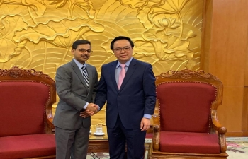 Ambassador Pranay Verma met with the Chairman of the External Relations Commission of the Communist Party of Vietnam and Central Committee Member, H.E. Mr. Hoàng Binh Quan on August 14 in Hanoi.