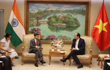 Ambassador Pranay Verma met with the Chairman of the Office of Government (Prime Minister's Office) of Vietnam, H.E. Mr. Mai Tien Dung on 5 September 2019 to review a wide-ranging cooperation agenda currently under implementation between India and Vietnam. Ambassador highly appreciated the strong support and coordination provided by the Office of Government under Chairman Dung's leadership in facilitating bilateral cooperation proposals and promoting India-Vietnam Comprehensive Strategic Partnership. Minister Dung expressed confidence in having even closer engagement between the two countries in the coming years.