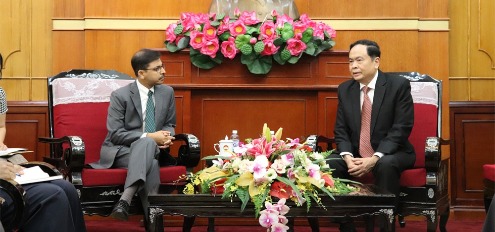Ambassador Pranay Verma called on the President of the Vietnam Fatherland Front (VFF) and Member of the Central Committee of the Communist Party of Vietnam, H.E. Mr. Tran Thanh Man on September 11, 2019.