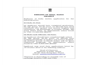 Invites application for posts at Embassy of India, Hanoi
