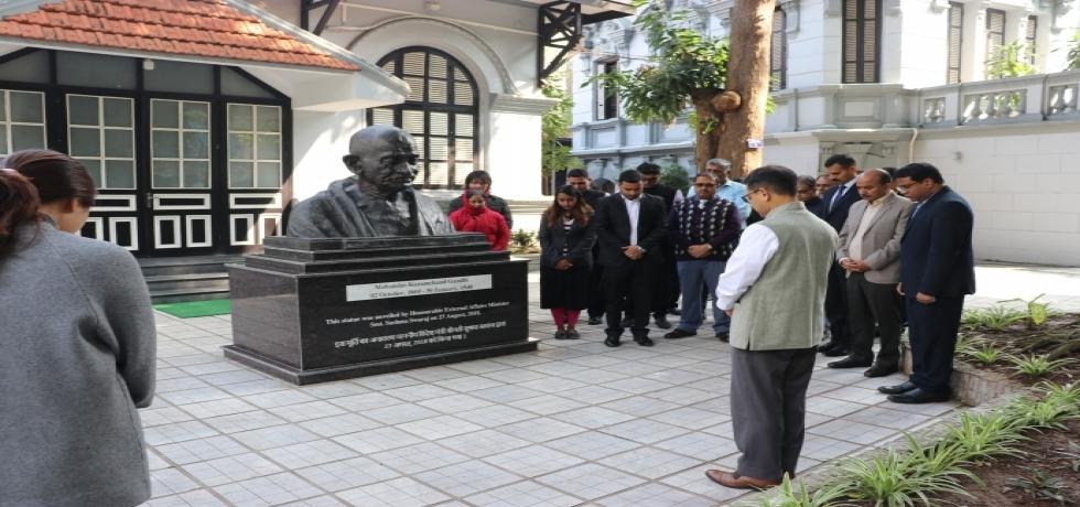Embassy family pays homage to Mahatma Gandhiji on Martyrs Day