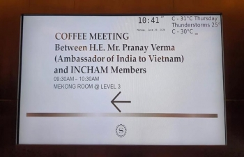 During his recent visit to Ho Chi Minh City, Ambassador interacted with Members of the Indian Business Chamber (InCham) on 29 June 2020 and exchanged ideas on the future course of India-Vietnam trade and investment engagement. InCham Vietnam and its counterpart InCham-Hanoi are our valuable partners in promoting business and people-to-people ties between India and Vietnam.