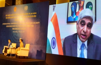 H.E. Mr. Vikas Swarup, Secretary (West) delivering his remarks as a keynote speaker at the International Conference on Women, Peace and Security organised by the United Nations and the Government of Vietnam.